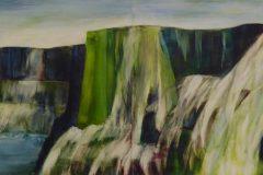 Wasserfall II (zweiteilig) - Feinschicht-Aquarell auf Malplatte - 60 x 160 cm - 2018 (verkauft)