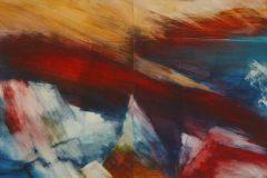 Feuer und Eis I (zweiteilig) - Feinschicht-Aquarell auf Malplatte - 60/160 cm - 2018