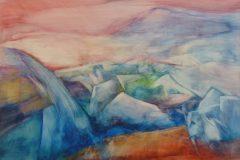 Gletschersee - Feinschicht-Aquarell auf Malplatte - 70/100 cm - 2018